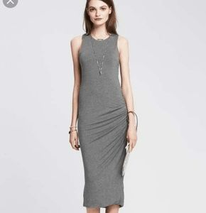 Banana Republic Gray Side Ruched Knit MidiDress
